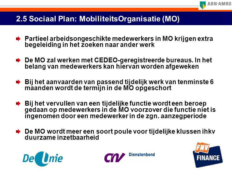 2.5 Sociaal Plan: MobiliteitsOrganisatie (MO) Partieel arbeidsongeschikte medewerkers in MO krijgen extra begeleiding in het zoeken naar ander werk De