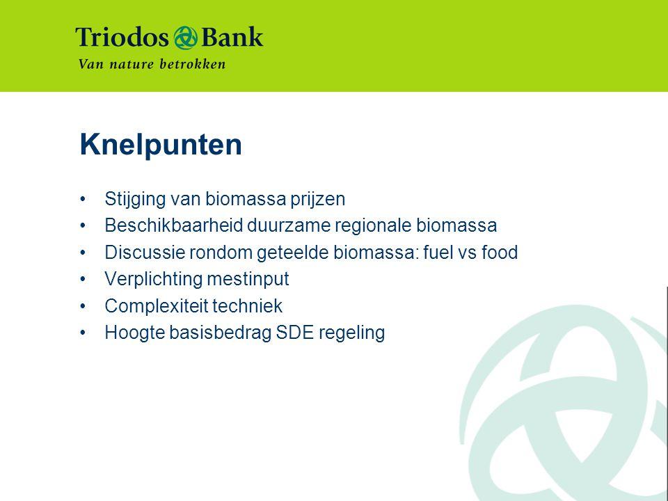 Knelpunten Stijging van biomassa prijzen Beschikbaarheid duurzame regionale biomassa Discussie rondom geteelde biomassa: fuel vs food Verplichting mestinput Complexiteit techniek Hoogte basisbedrag SDE regeling