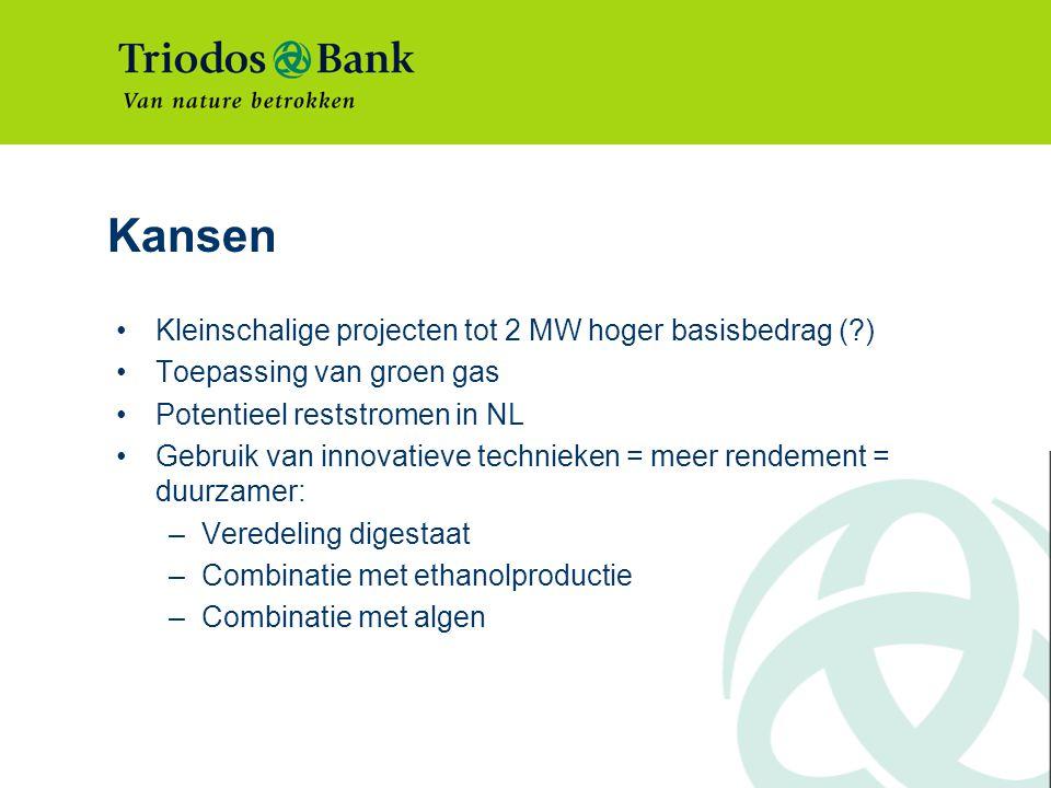 Kansen Kleinschalige projecten tot 2 MW hoger basisbedrag (?) Toepassing van groen gas Potentieel reststromen in NL Gebruik van innovatieve technieken = meer rendement = duurzamer: –Veredeling digestaat –Combinatie met ethanolproductie –Combinatie met algen