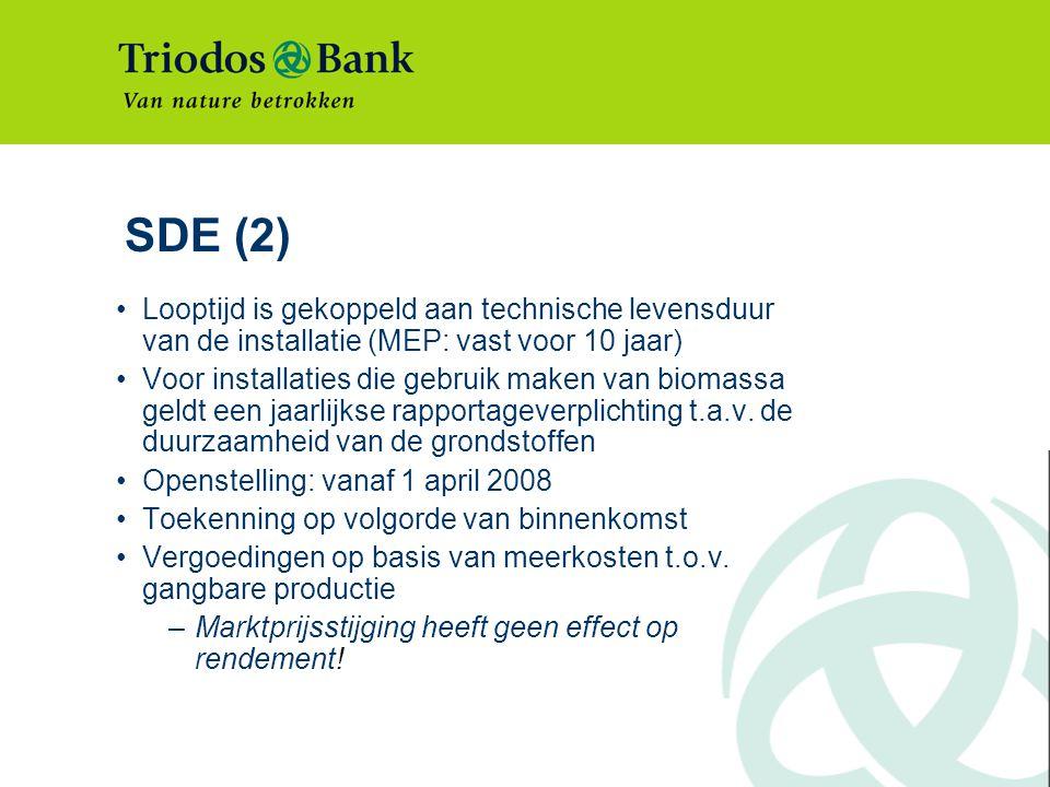 SDE (2) Looptijd is gekoppeld aan technische levensduur van de installatie (MEP: vast voor 10 jaar) Voor installaties die gebruik maken van biomassa geldt een jaarlijkse rapportageverplichting t.a.v.