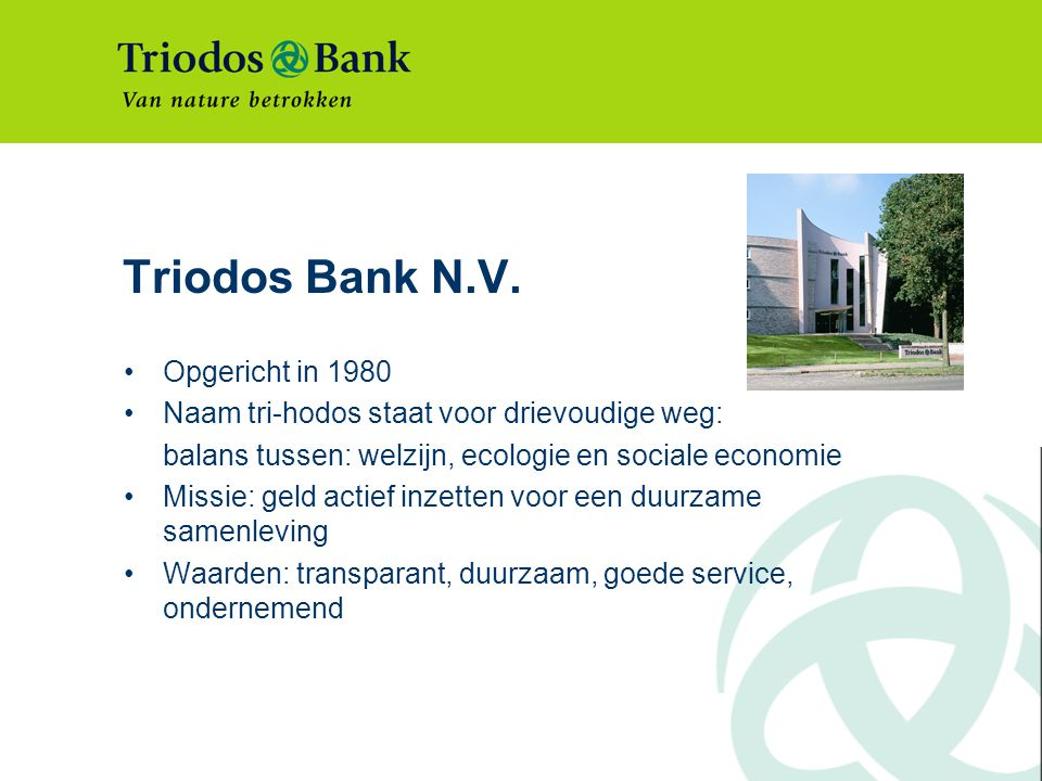 Triodos Bank in Europa