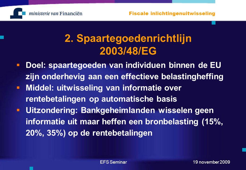 EFS Seminar Fiscale inlichtingenuitwisseling 19 november 2009 2. Spaartegoedenrichtlijn 2003/48/EG  Doel: spaartegoeden van individuen binnen de EU z