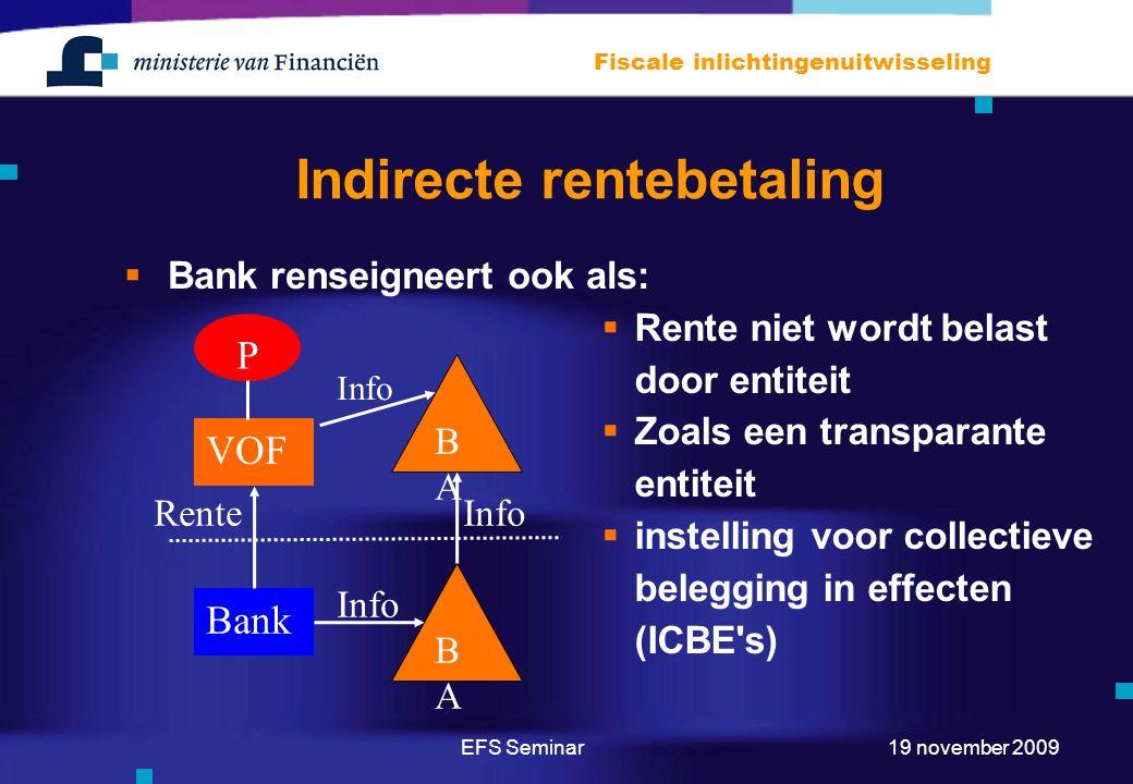 EFS Seminar Fiscale inlichtingenuitwisseling 19 november 2009 Indirecte rentebetaling  Bank renseigneert ook als: Bank VOF P BABA BABA Rente Info  Rente niet wordt belast door entiteit  Zoals een transparante entiteit  instelling voor collectieve belegging in effecten (ICBE s) Info