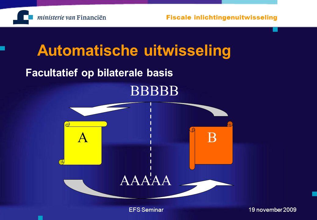 EFS Seminar Fiscale inlichtingenuitwisseling 19 november 2009 Automatische uitwisseling Facultatief op bilaterale basis A B AAAAA BBBBB