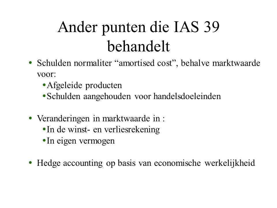 """Ander punten die IAS 39 behandelt  Schulden normaliter """"amortised cost"""", behalve marktwaarde voor:  Afgeleide producten  Schulden aangehouden voor"""