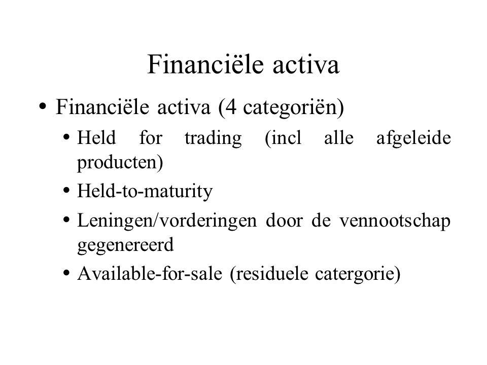  Financiële activa (4 categoriën)  Held for trading (incl alle afgeleide producten)  Held-to-maturity  Leningen/vorderingen door de vennootschap gegenereerd  Available-for-sale (residuele catergorie) Financiële activa