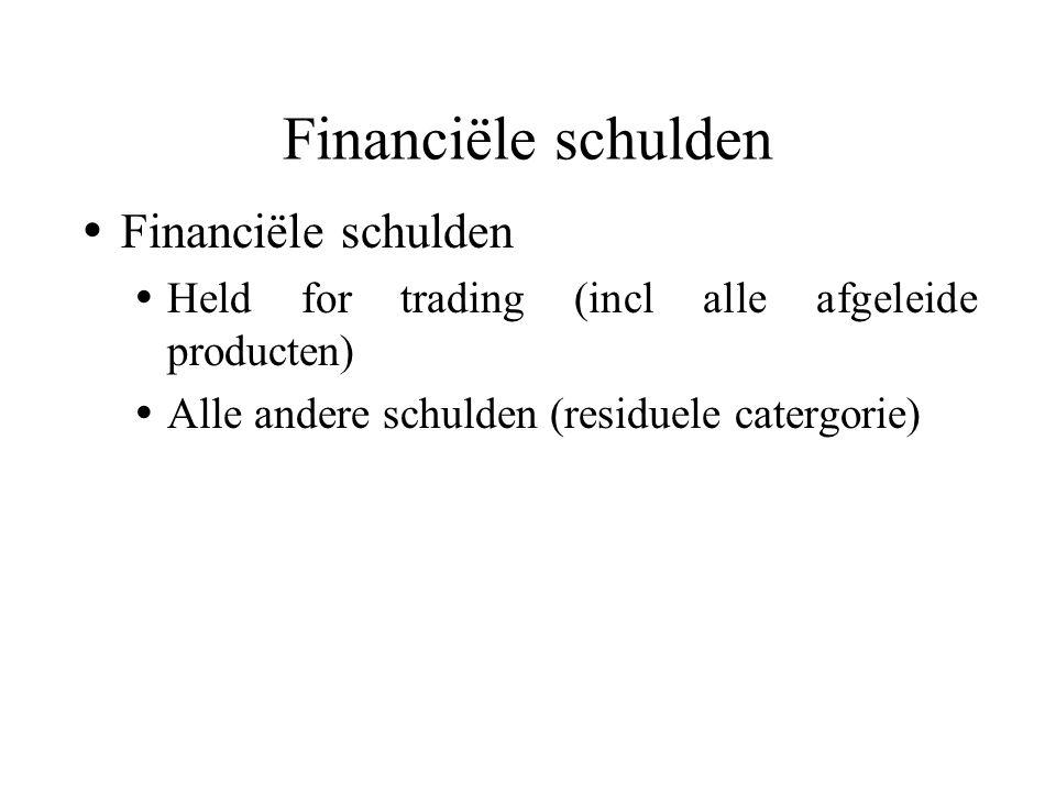  Financiële schulden  Held for trading (incl alle afgeleide producten)  Alle andere schulden (residuele catergorie) Financiële schulden