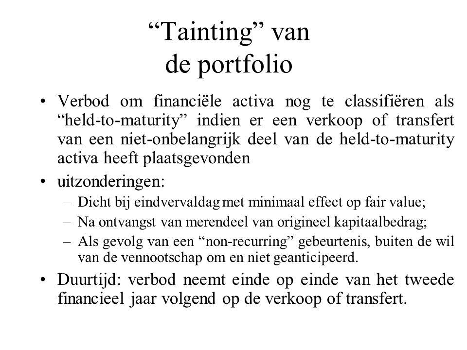 """""""Tainting"""" van de portfolio Verbod om financiële activa nog te classifiëren als """"held-to-maturity"""" indien er een verkoop of transfert van een niet-onb"""