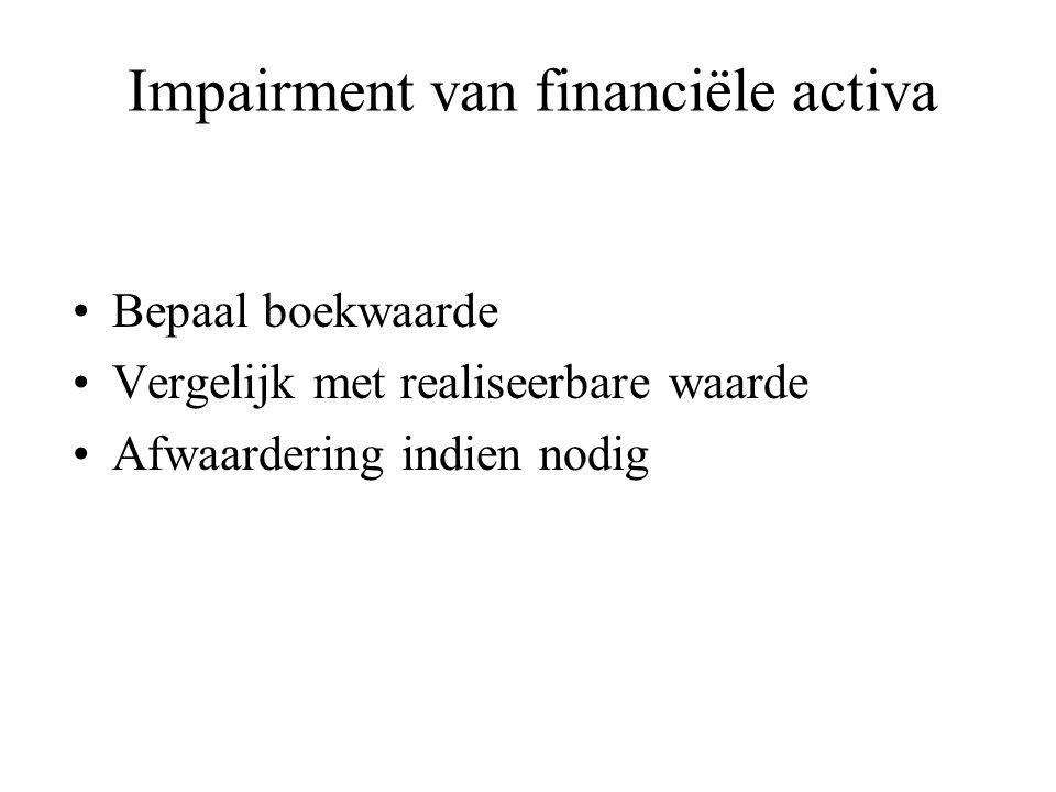 Impairment van financiële activa Bepaal boekwaarde Vergelijk met realiseerbare waarde Afwaardering indien nodig