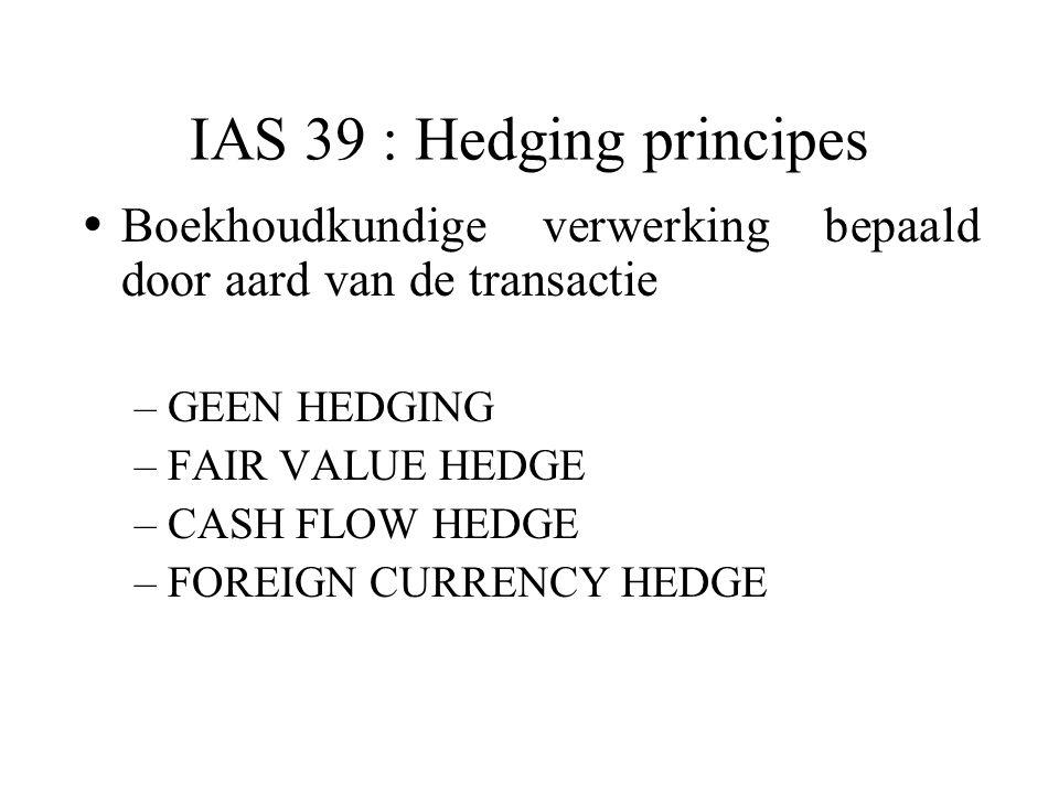  Boekhoudkundige verwerking bepaald door aard van de transactie –GEEN HEDGING –FAIR VALUE HEDGE –CASH FLOW HEDGE –FOREIGN CURRENCY HEDGE IAS 39 : Hedging principes