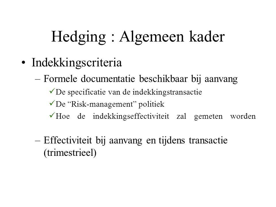 Hedging : Algemeen kader Indekkingscriteria –Formele documentatie beschikbaar bij aanvang De specificatie van de indekkingstransactie De Risk-management politiek Hoe de indekkingseffectiviteit zal gemeten worden –Effectiviteit bij aanvang en tijdens transactie (trimestrieel)