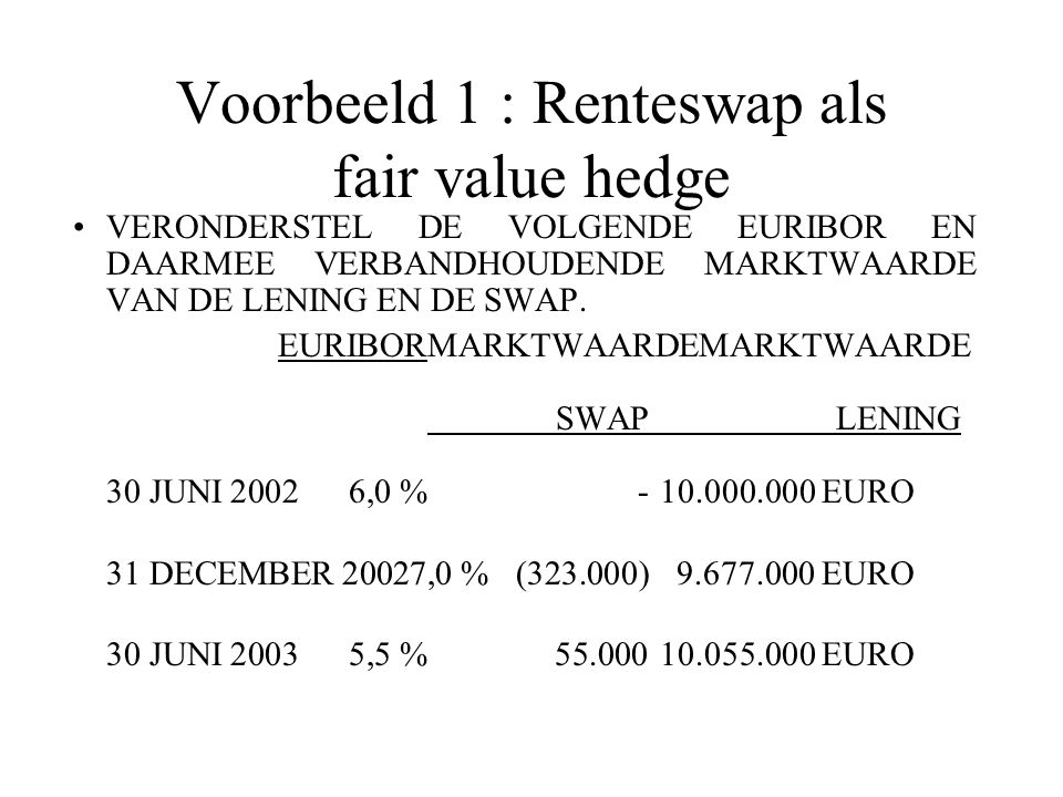 Voorbeeld 1 : Renteswap als fair value hedge VERONDERSTEL DE VOLGENDE EURIBOR EN DAARMEE VERBANDHOUDENDE MARKTWAARDE VAN DE LENING EN DE SWAP.