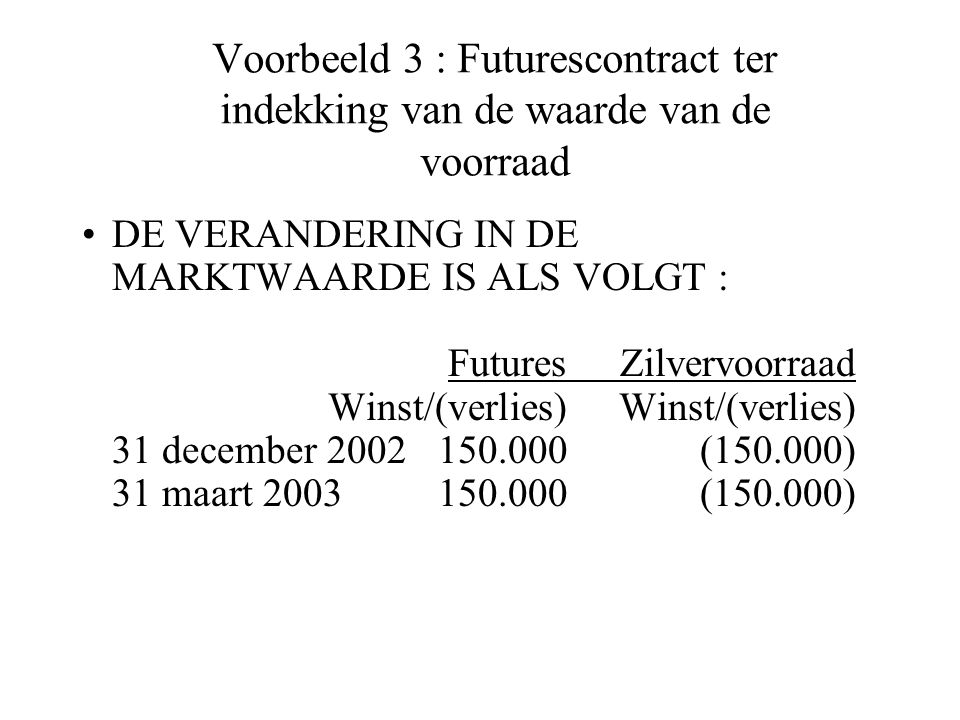 Voorbeeld 3 : Futurescontract ter indekking van de waarde van de voorraad DE VERANDERING IN DE MARKTWAARDE IS ALS VOLGT : FuturesZilvervoorraad Winst/(verlies)Winst/(verlies) 31 december 2002150.000(150.000) 31 maart 2003150.000(150.000)