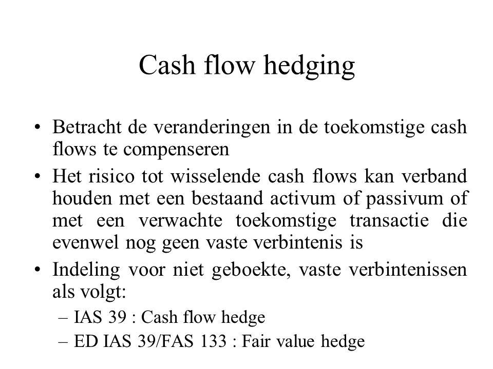 Cash flow hedging Betracht de veranderingen in de toekomstige cash flows te compenseren Het risico tot wisselende cash flows kan verband houden met een bestaand activum of passivum of met een verwachte toekomstige transactie die evenwel nog geen vaste verbintenis is Indeling voor niet geboekte, vaste verbintenissen als volgt: –IAS 39 : Cash flow hedge –ED IAS 39/FAS 133 : Fair value hedge