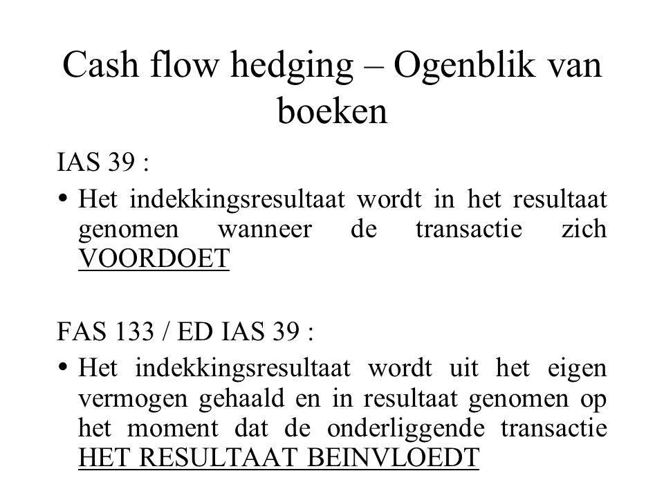 Cash flow hedging – Ogenblik van boeken IAS 39 :  Het indekkingsresultaat wordt in het resultaat genomen wanneer de transactie zich VOORDOET FAS 133 / ED IAS 39 :  Het indekkingsresultaat wordt uit het eigen vermogen gehaald en in resultaat genomen op het moment dat de onderliggende transactie HET RESULTAAT BEINVLOEDT