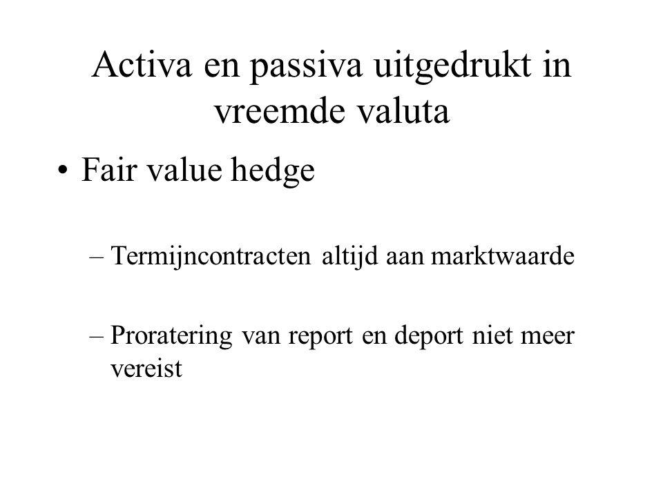 Activa en passiva uitgedrukt in vreemde valuta Fair value hedge –Termijncontracten altijd aan marktwaarde –Proratering van report en deport niet meer
