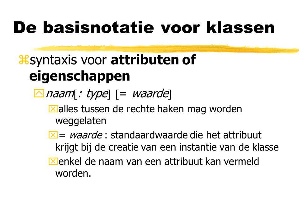 De basisnotatie voor klassen zsyntaxis voor attributen of eigenschappen ynaam  : type   = waarde  xalles tussen de rechte haken mag worden weggela