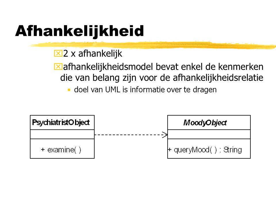 x2 x afhankelijk xafhankelijkheidsmodel bevat enkel de kenmerken die van belang zijn voor de afhankelijkheidsrelatie doel van UML is informatie over t
