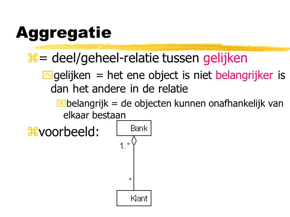 z= deel/geheel-relatie tussen gelijken ygelijken = het ene object is niet belangrijker is dan het andere in de relatie xbelangrijk = de objecten kunne