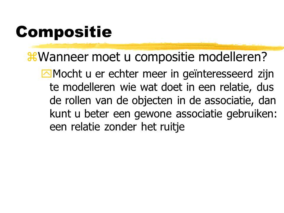 zWanneer moet u compositie modelleren? yMocht u er echter meer in geïnteresseerd zijn te modelleren wie wat doet in een relatie, dus de rollen van de