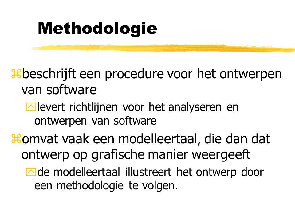 Methodologie zbeschrijft een procedure voor het ontwerpen van software ylevert richtlijnen voor het analyseren en ontwerpen van software zomvat vaak e