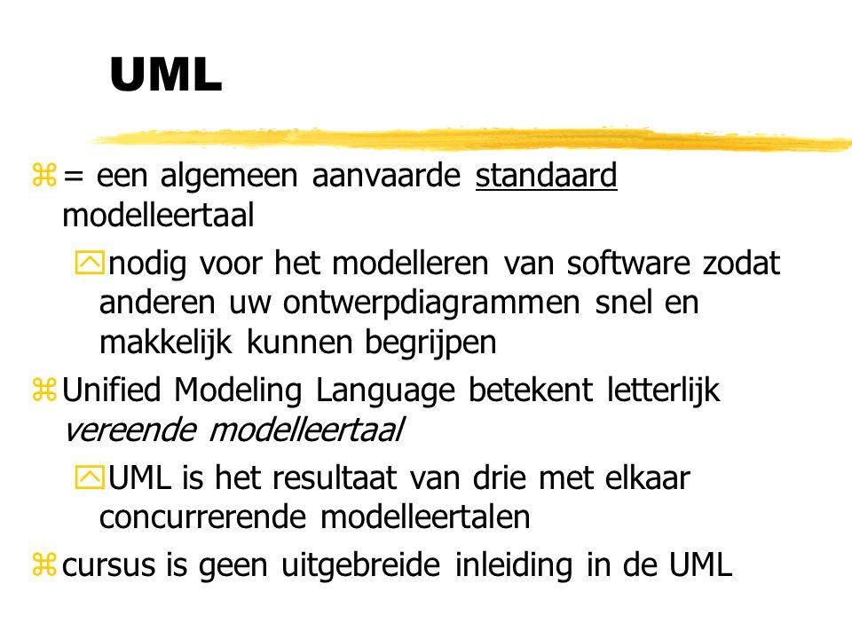 UML z= een algemeen aanvaarde standaard modelleertaal ynodig voor het modelleren van software zodat anderen uw ontwerpdiagrammen snel en makkelijk kun