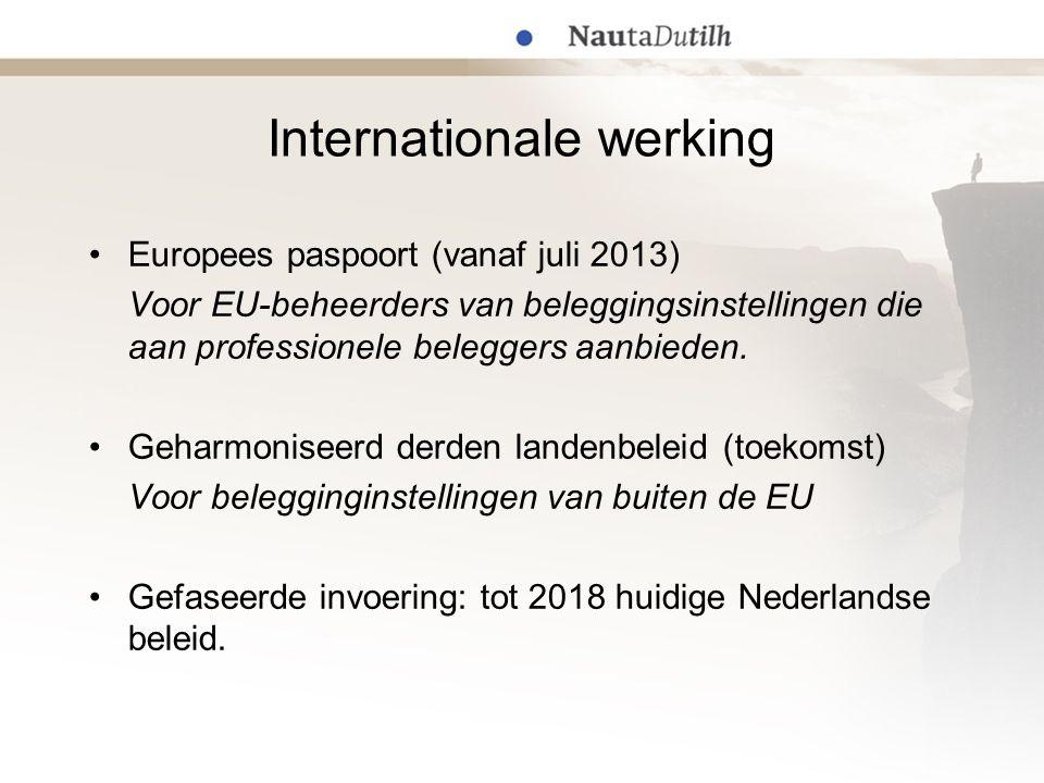 Internationale werking Europees paspoort (vanaf juli 2013) Voor EU-beheerders van beleggingsinstellingen die aan professionele beleggers aanbieden.