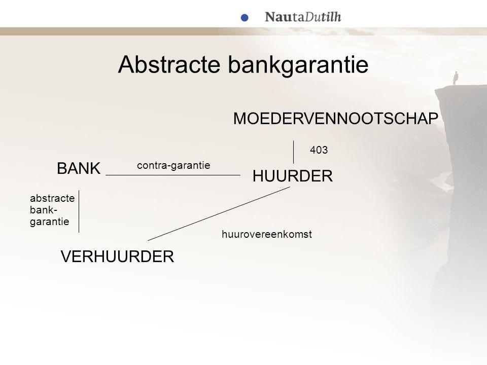 Abstracte bankgarantie 403 abstracte bank- garantie huurovereenkomst contra-garantie MOEDERVENNOOTSCHAP HUURDER BANK VERHUURDER