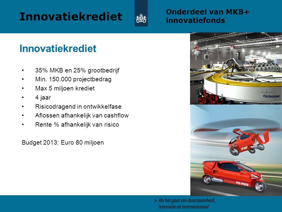 35% MKB en 25% grootbedrijf Min. 150.000 projectbedrag Max 5 miljoen krediet 4 jaar Risicodragend in ontwikkelfase Aflossen afhankelijk van cashflow R