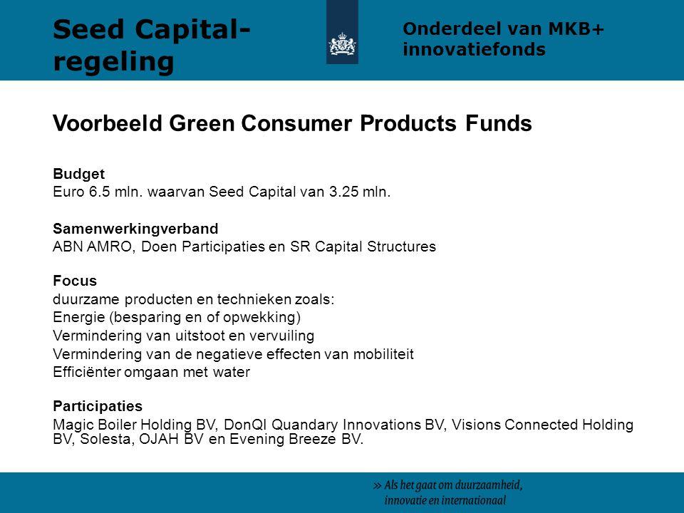Voorbeeld Green Consumer Products Funds Budget Euro 6.5 mln. waarvan Seed Capital van 3.25 mln. Samenwerkingverband ABN AMRO, Doen Participaties en SR