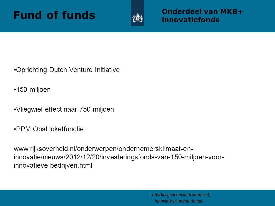 Oprichting Dutch Venture Initiative 150 miljoen Vliegwiel effect naar 750 miljoen PPM Oost loketfunctie www.rijksoverheid.nl/onderwerpen/ondernemersklimaat-en- innovatie/nieuws/2012/12/20/investeringsfonds-van-150-miljoen-voor- innovatieve-bedrijven.html Onderdeel van MKB+ innovatiefonds Fund of funds