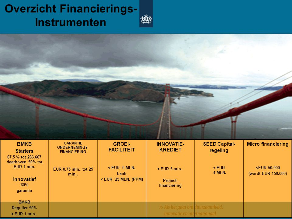 BMKB Starters 67,5 % tot 266.667 daarboven 50% tot EUR 1 mln. innovatief 60% garantie BMKB Regulier 50% < EUR 1 mln.. GARANTIE ONDERNEMINGS- FINANCIER