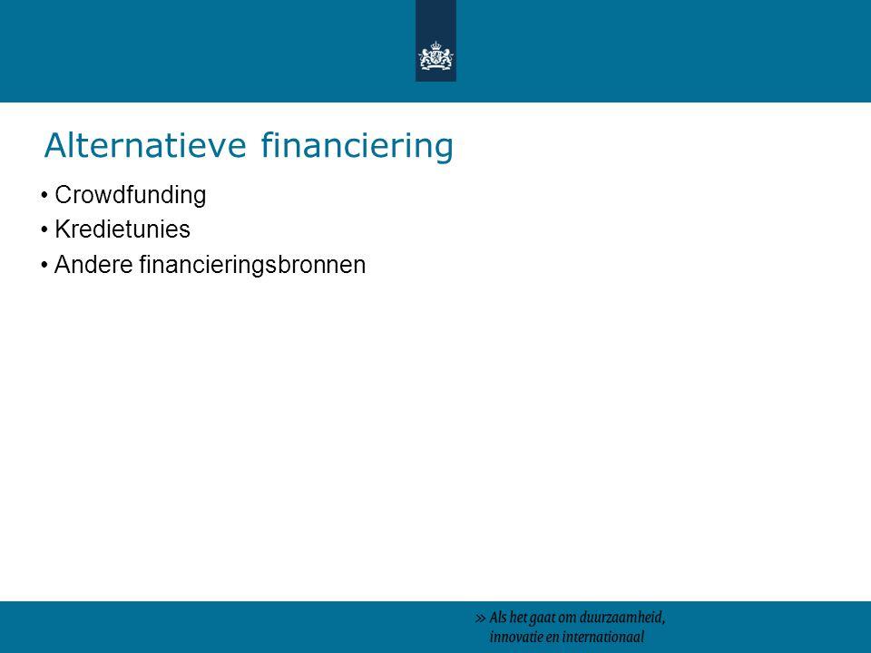 Crowdfunding Kredietunies Andere financieringsbronnen