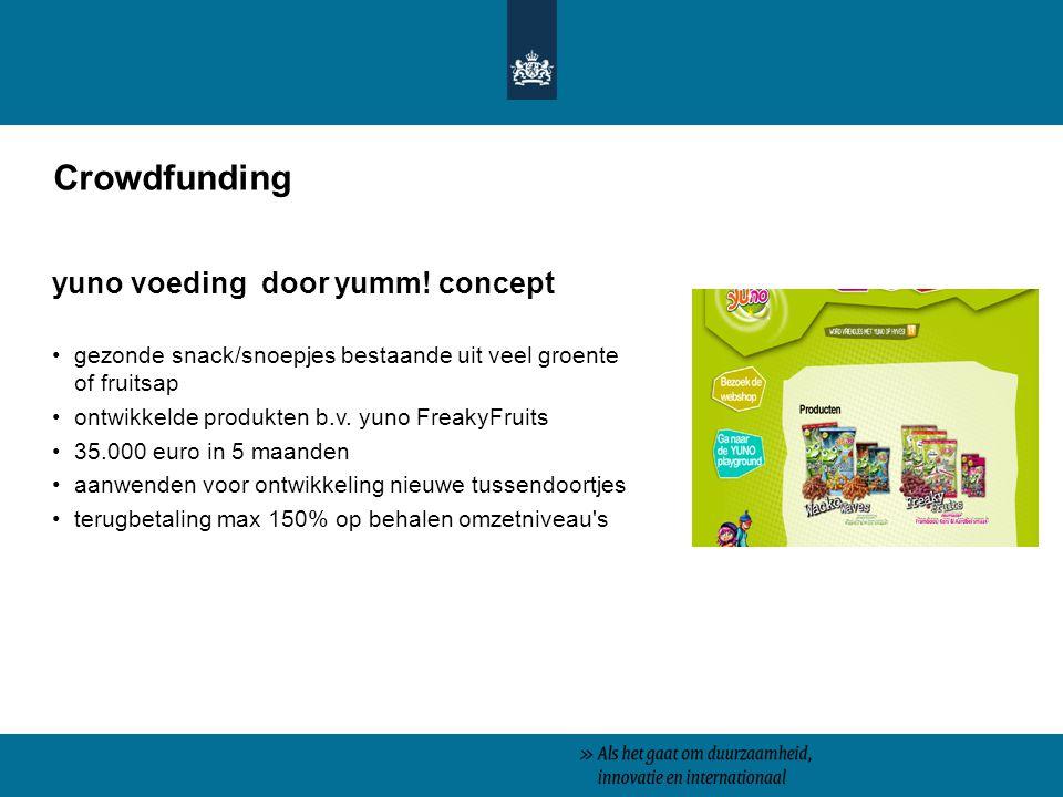 Crowdfunding yuno voeding door yumm! concept gezonde snack/snoepjes bestaande uit veel groente of fruitsap ontwikkelde produkten b.v. yuno FreakyFruit