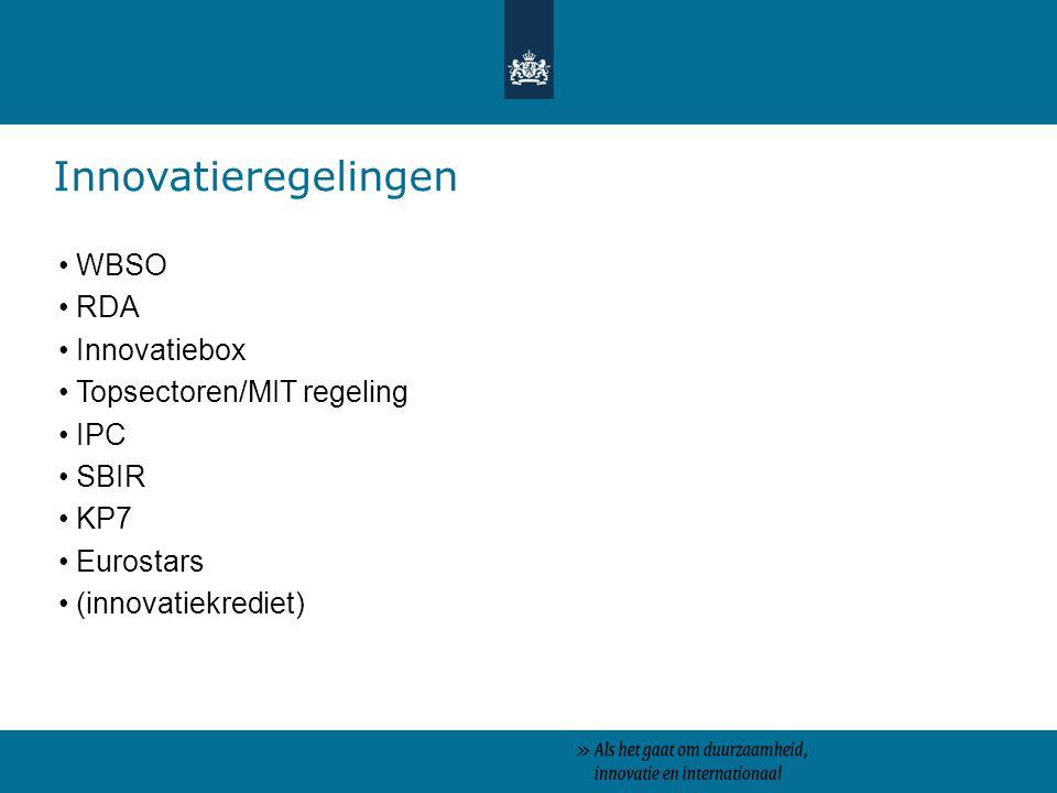 Innovatieregelingen WBSO RDA Innovatiebox Topsectoren/MIT regeling IPC SBIR KP7 Eurostars (innovatiekrediet)