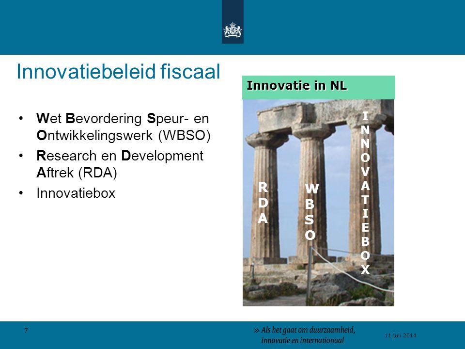 7 11 juli 2014 Innovatiebeleid fiscaal Wet Bevordering Speur- en Ontwikkelingswerk (WBSO) Research en Development Aftrek (RDA) Innovatiebox WBSOWBSO RDARDA INNOVATIEBOXINNOVATIEBOX Innovatie in NL