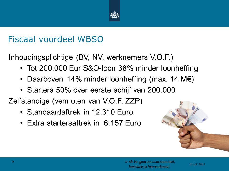 9 11 juli 2014 Inhoudingsplichtige (BV, NV, werknemers V.O.F.) Tot 200.000 Eur S&O-loon 38% minder loonheffing Daarboven 14% minder loonheffing (max.