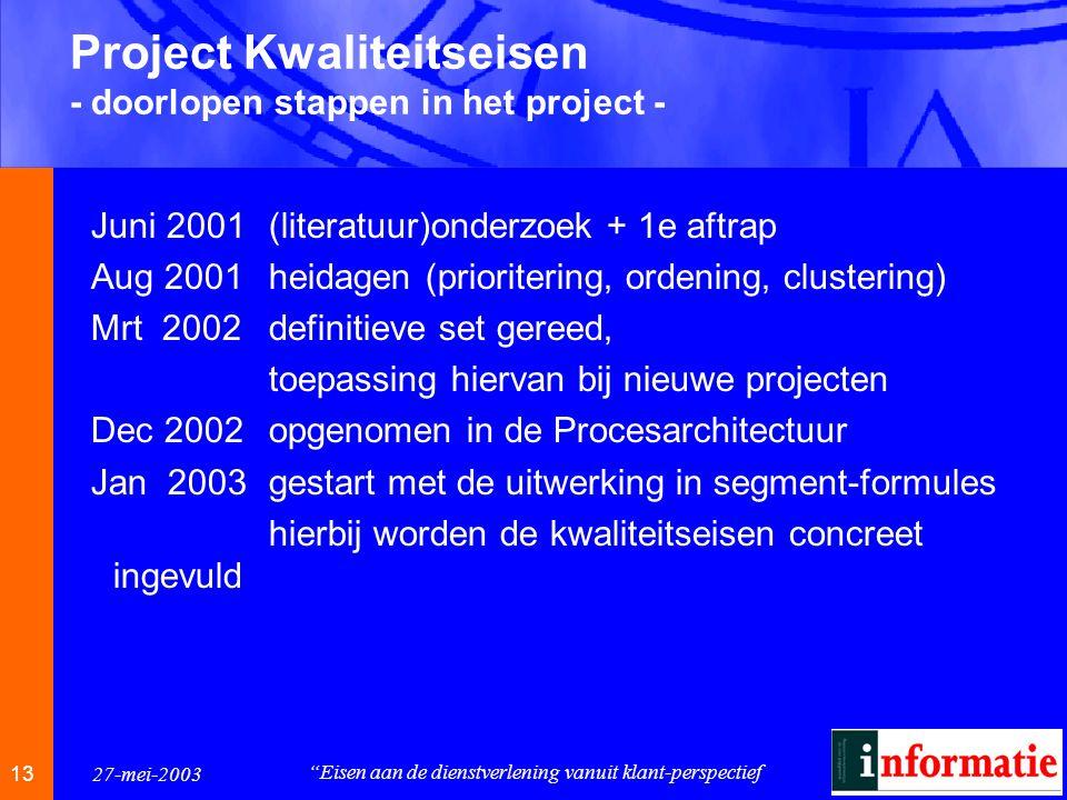 1313 13 27-mei-2003 Eisen aan de dienstverlening vanuit klant-perspectief Project Kwaliteitseisen - doorlopen stappen in het project - Juni 2001(literatuur)onderzoek + 1e aftrap Aug 2001heidagen (prioritering, ordening, clustering) Mrt 2002definitieve set gereed, toepassing hiervan bij nieuwe projecten Dec 2002opgenomen in de Procesarchitectuur Jan 2003gestart met de uitwerking in segment-formules hierbij worden de kwaliteitseisen concreet ingevuld