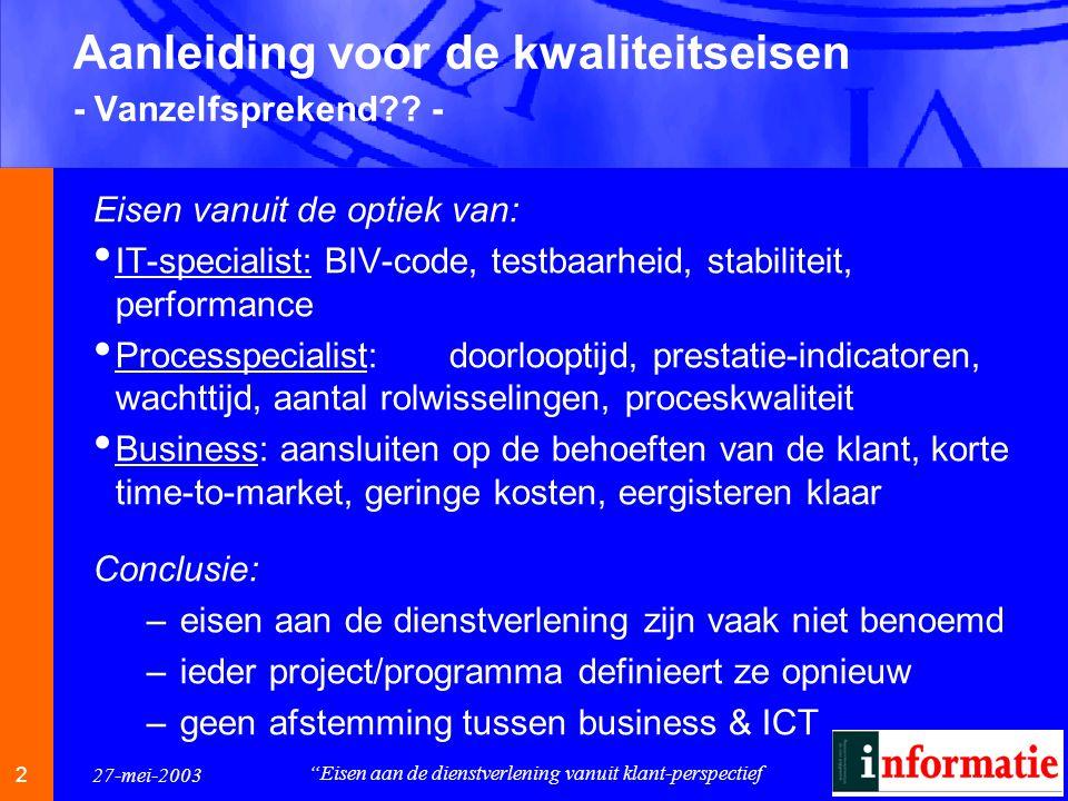 2 2 27-mei-2003 Eisen aan de dienstverlening vanuit klant-perspectief Aanleiding voor de kwaliteitseisen - Vanzelfsprekend .