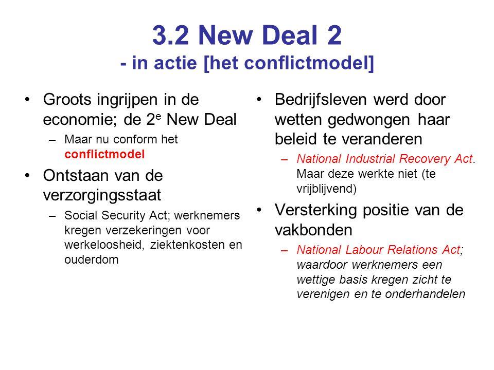 3.2 New Deal 2 - in actie [het conflictmodel] Groots ingrijpen in de economie; de 2 e New Deal –Maar nu conform het conflictmodel Ontstaan van de verz
