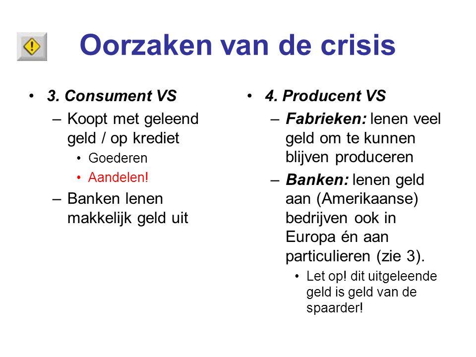 Oorzaken van de crisis 3. Consument VS –Koopt met geleend geld / op krediet Goederen Aandelen! –Banken lenen makkelijk geld uit 4. Producent VS –Fabri