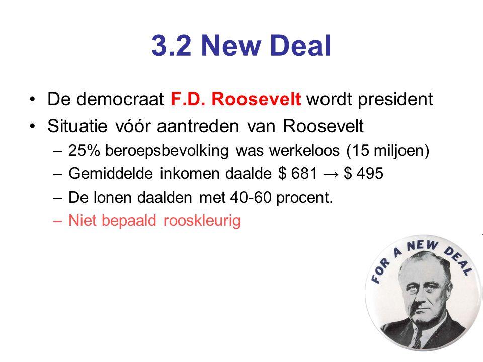 3.2 New Deal De democraat F.D. Roosevelt wordt president Situatie vóór aantreden van Roosevelt –25% beroepsbevolking was werkeloos (15 miljoen) –Gemid