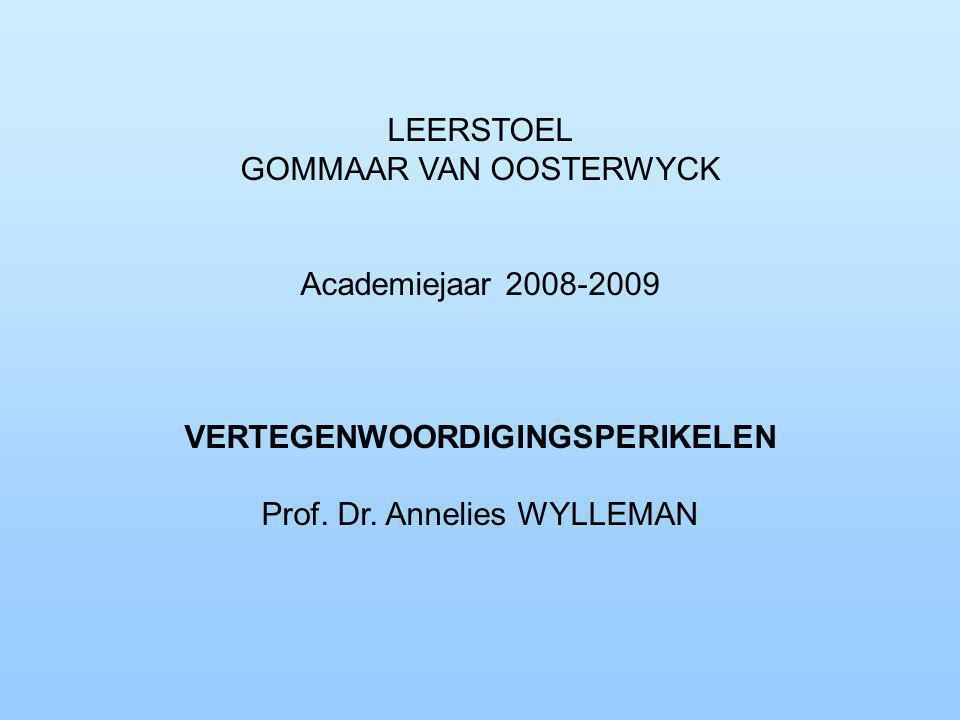 LEERSTOEL GOMMAAR VAN OOSTERWYCK Academiejaar 2008-2009 VERTEGENWOORDIGINGSPERIKELEN Prof.