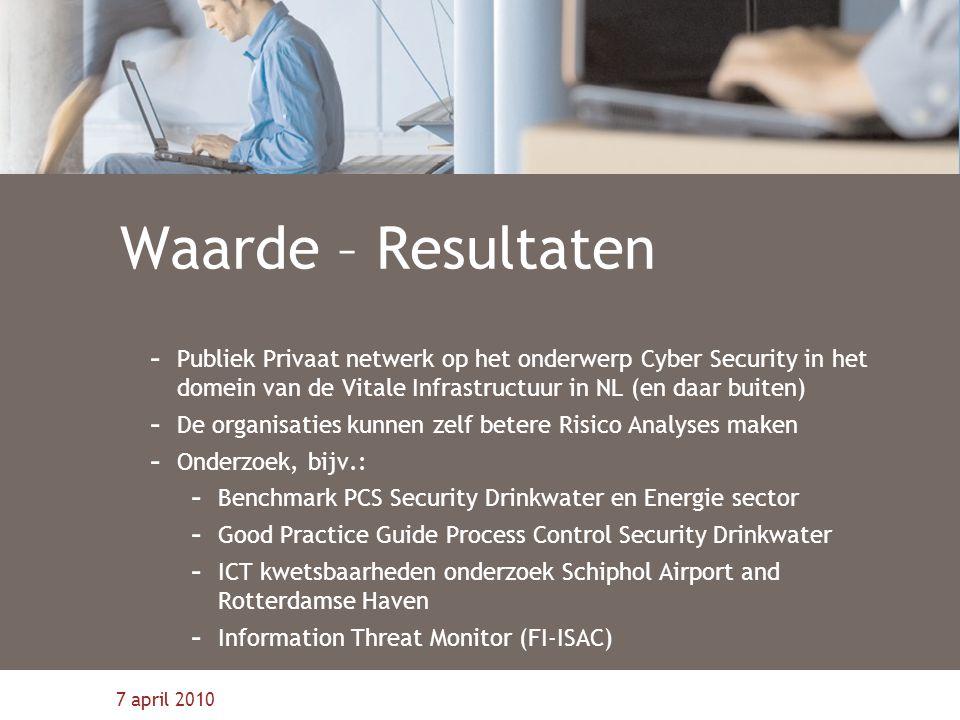 7 april 2010 Waarde – Resultaten - Publiek Privaat netwerk op het onderwerp Cyber Security in het domein van de Vitale Infrastructuur in NL (en daar b