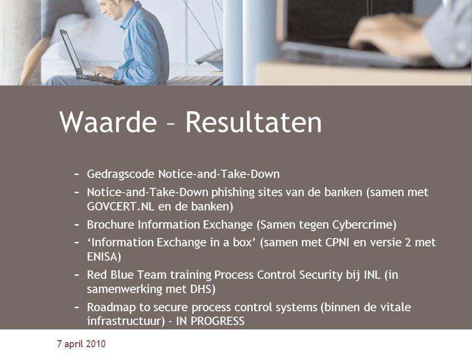 7 april 2010 Waarde – Resultaten - Gedragscode Notice-and-Take-Down - Notice-and-Take-Down phishing sites van de banken (samen met GOVCERT.NL en de ba