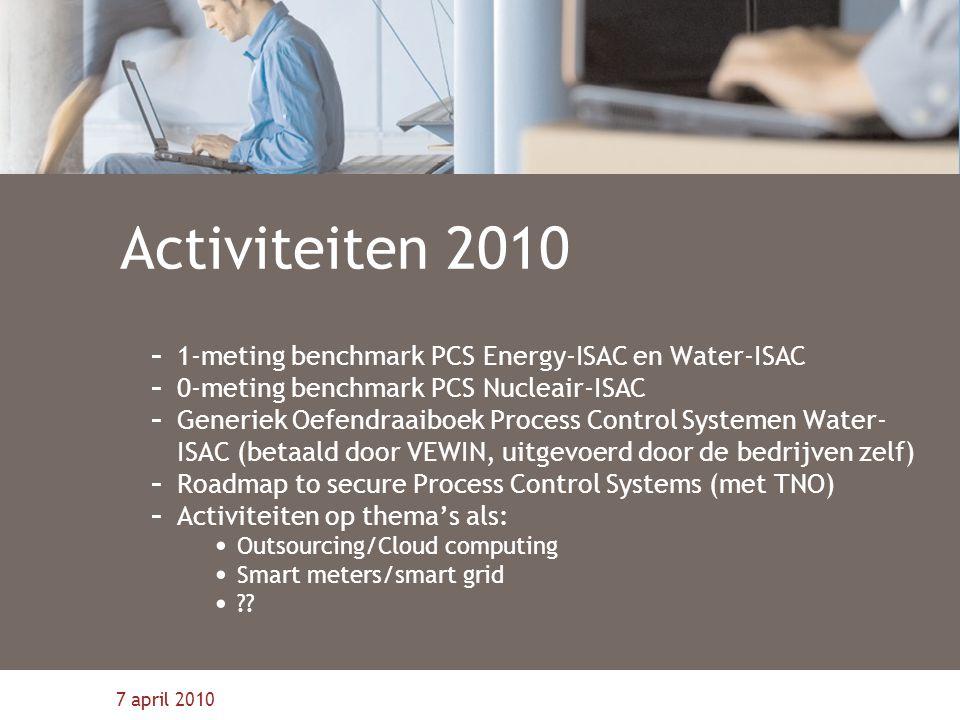 7 april 2010 Activiteiten 2010 - 1-meting benchmark PCS Energy-ISAC en Water-ISAC - 0-meting benchmark PCS Nucleair-ISAC - Generiek Oefendraaiboek Process Control Systemen Water- ISAC (betaald door VEWIN, uitgevoerd door de bedrijven zelf) - Roadmap to secure Process Control Systems (met TNO) - Activiteiten op thema's als: Outsourcing/Cloud computing Smart meters/smart grid ??