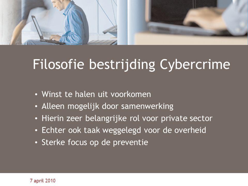 7 april 2010 Filosofie bestrijding Cybercrime Winst te halen uit voorkomen Alleen mogelijk door samenwerking Hierin zeer belangrijke rol voor private