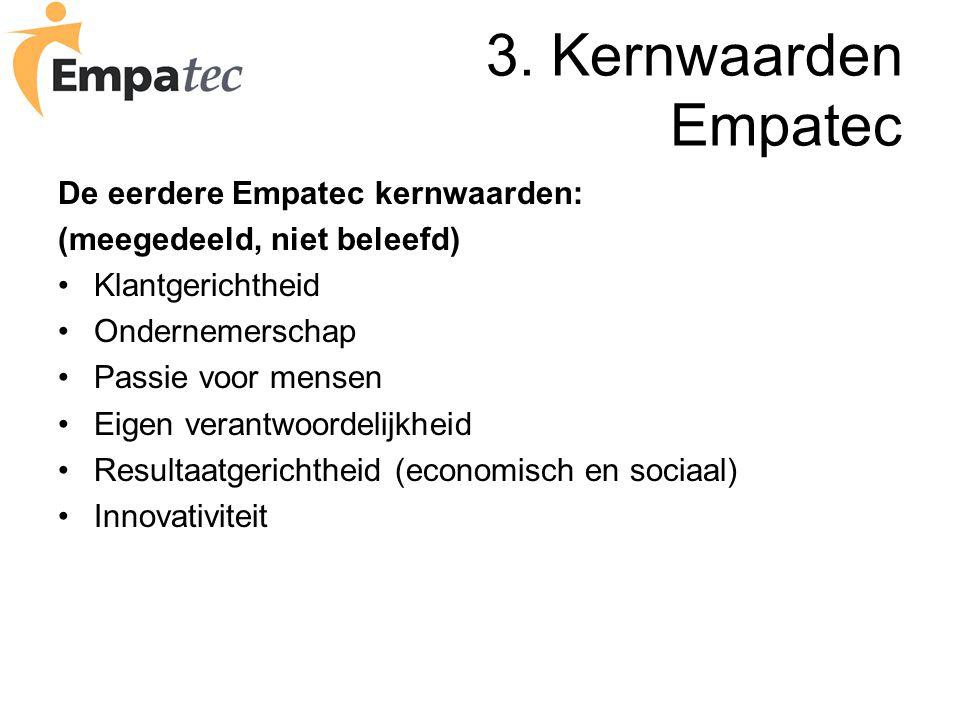 3. Kernwaarden Empatec De eerdere Empatec kernwaarden: (meegedeeld, niet beleefd) Klantgerichtheid Ondernemerschap Passie voor mensen Eigen verantwoor