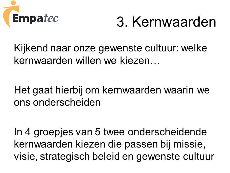 3. Kernwaarden Kijkend naar onze gewenste cultuur: welke kernwaarden willen we kiezen… Het gaat hierbij om kernwaarden waarin we ons onderscheiden In