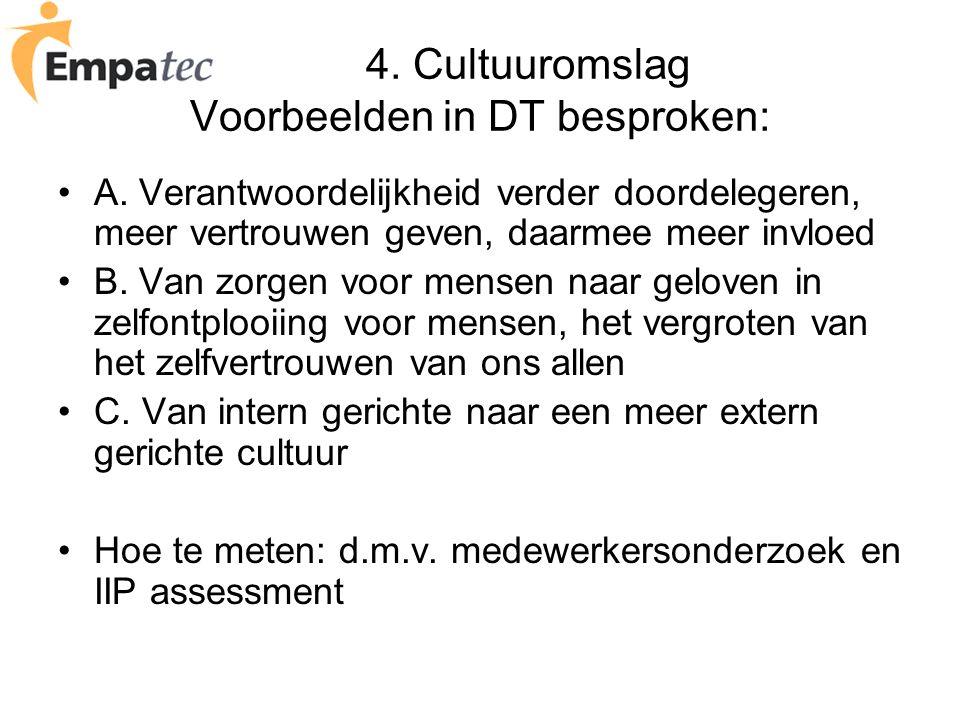 4. Cultuuromslag Voorbeelden in DT besproken: A. Verantwoordelijkheid verder doordelegeren, meer vertrouwen geven, daarmee meer invloed B. Van zorgen